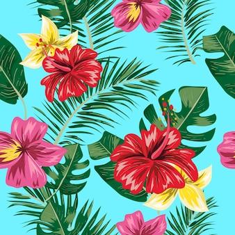 Modello senza cuciture di foglie e fiori tropicali.