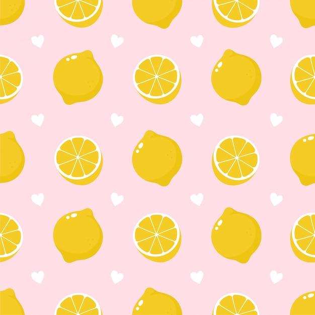 Modello senza cuciture di frutta e cuori di limone carino bellezza.