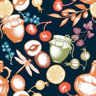 Modello senza cuciture di frutti e bacche freschi di tempo di raccolta