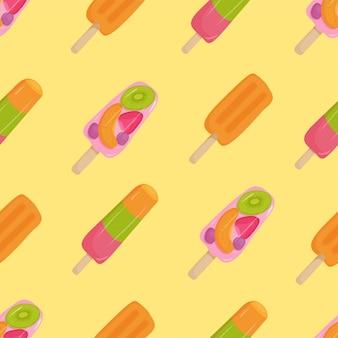 Modello senza cuciture di gelato con fragole, kiwi, arancia