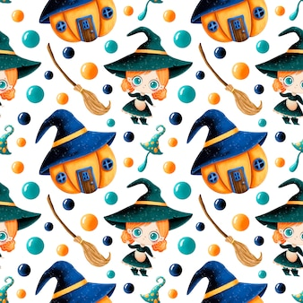 Modello senza cuciture di halloween magico del fumetto sveglio. carina piccola strega, casa di zucca, ginestra e fungo magico.
