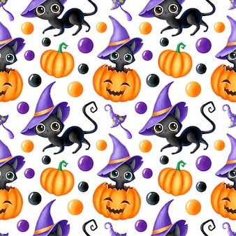 Modello senza cuciture di halloween magico del fumetto sveglio. gatto nero, zucca, jack o'lantern, fungo magico.