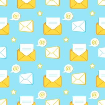 Modello senza cuciture di icone, buste ed e-mail aperte