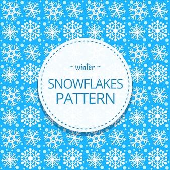 Modello senza cuciture di inverno del fiocco di neve sveglio disegnato a mano