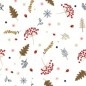 Modello senza cuciture di inverno floreale disegnato a mano con foglie e bacche di natale.
