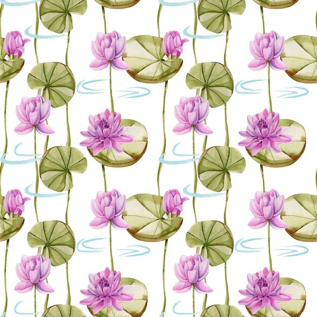 Modello senza cuciture di loto rosa dell'acquerello