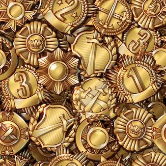 Modello senza cuciture di medaglie militari