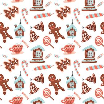 Modello senza cuciture di natale con bevanda al cacao, biscotto allo zenzero, bastoncino di zucchero e lecca-lecca. dolci natalizi.