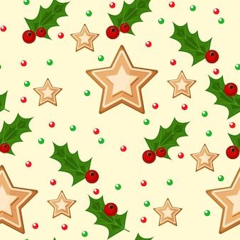 Modello senza cuciture di natale con la carta da imballaggio di natale delle vacanze invernali dell'illustrazione delle bacche e delle stelle dell'agrifoglio dei rami attillati.