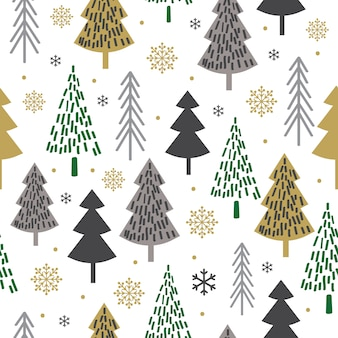 Modello senza cuciture di natale con progettazione dell'albero, fondo di natale, carta decorativa, adatto ad involucro di regalo, carta da parati, illustrazione di vettore