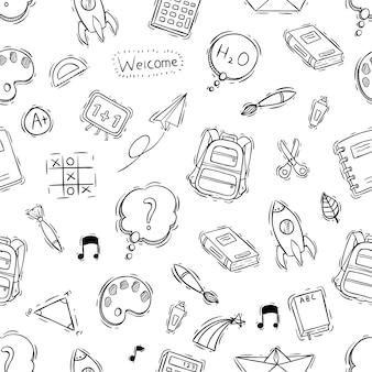 Modello senza cuciture di oggetti di scuola con stile disegnato a mano o di doodle