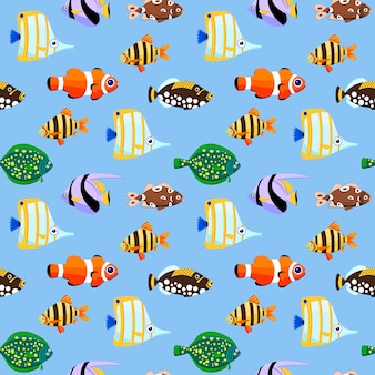 Modello senza cuciture di pesci di mare carino. illustrazione.