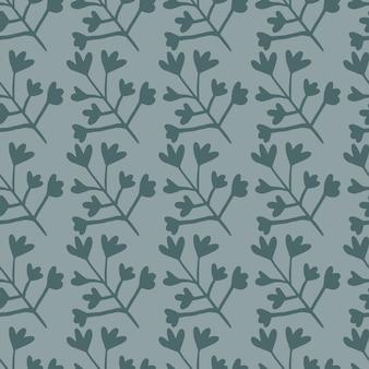 Modello senza cuciture di piccoli elementi botanici nei toni del blu darl. semplice disegno floreale.