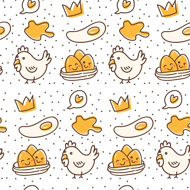 Modello senza cuciture di pollo e uovo in stile doodle kawaii