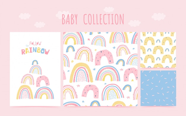Modello senza cuciture di raccolta del bambino sveglio con arcobaleno e lettering poster segui l'arcobaleno. stile disegnato a mano del fondo per progettazione della stanza dei bambini. illustrazione