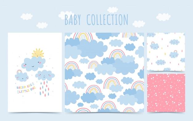 Modello senza cuciture di raccolta del bambino sveglio con arcobaleno, nuvole, pioggia per bambini. stile disegnato a mano del fondo per progettazione della stanza dei bambini.