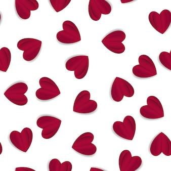 Modello senza cuciture di san valentino con forma di cuore di origami stile artigianale di carta