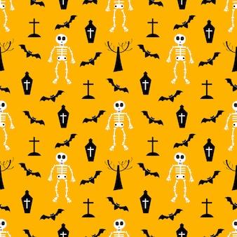 Modello senza cuciture di scheletro e elemento di halloween