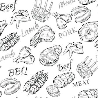 Modello senza cuciture di schizzo bianco nero di carne con carne di manzo e maiale