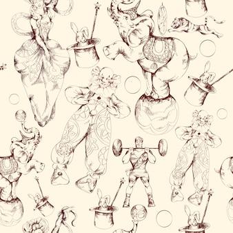 Modello senza cuciture di schizzo di doodle del circo