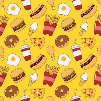 Modello senza cuciture di snack fast food. bevande e dessert isolati su giallo.