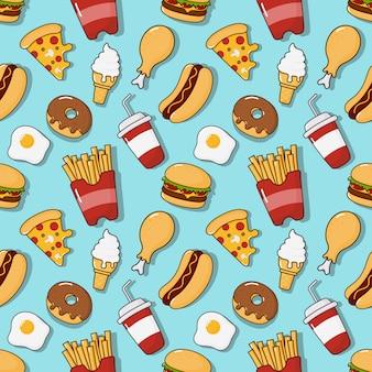 Modello senza cuciture di snack fast food. bevande e dessert isolati sull'azzurro.