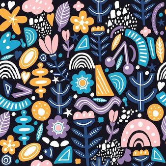 Modello senza cuciture di stile collage con forme astratte e organiche in colore pastello sul buio. tessuti moderni e originali, carta da regalo, arte murale.
