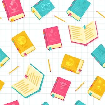 Modello senza cuciture di stile di vettore dei libri di scuola piano di stile