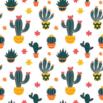 Modello senza cuciture di stile disegnato a mano di cactus