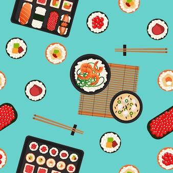 Modello senza cuciture di sushi. cibo giapponese. frutti di mare.