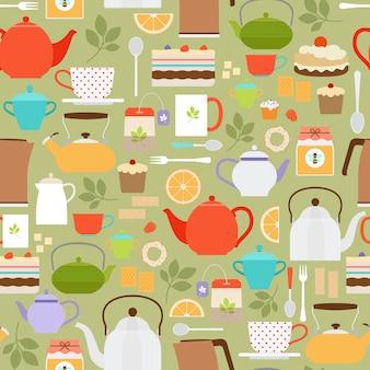 Modello senza cuciture di tè vettoriale con teiere e tazze