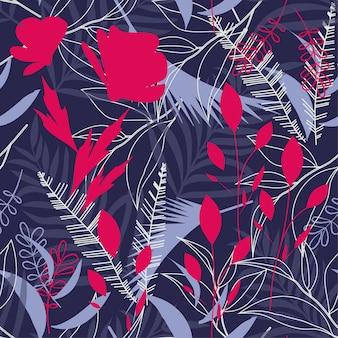 Modello senza cuciture di tendenza con foglie e piante tropicali brillanti
