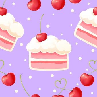 Modello senza cuciture di torta e ciliegie