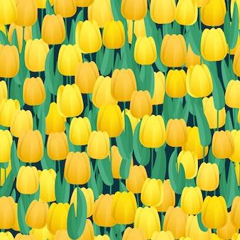 Modello senza cuciture di tulipani gialli
