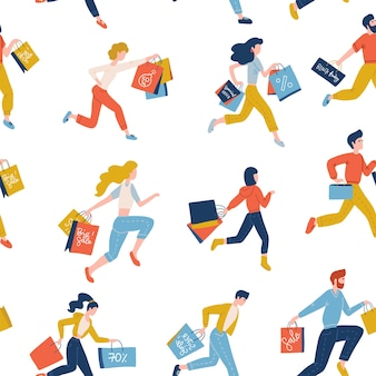 Modello senza cuciture di uomini in esecuzione alla moda e borse della spesa che trasportano womwn. concetto di vendita venerdì nero
