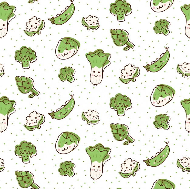Modello senza cuciture di verdure sveglie in stile doodle di kawaii
