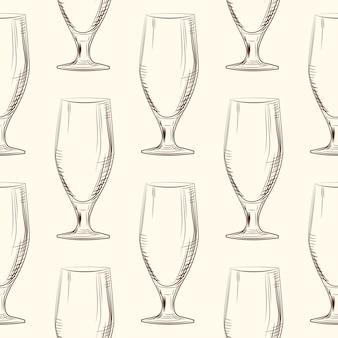 Modello senza cuciture di vetro di birra donna disegnata a mano. stile incisione.