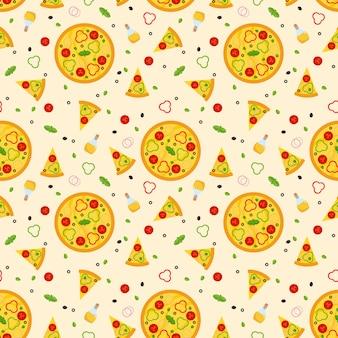 Modello senza cuciture di vettore luminoso con pizza