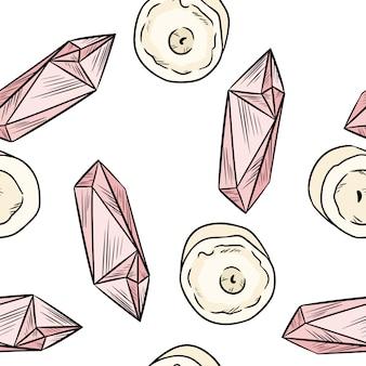 Modello senza cuciture di vista superiore di scarabocchi di stile comico dei cristalli di quarzo rosa e delle candele.