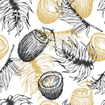 Modello senza cuciture disegnato a mano della linea dell'oro della noce di cocco delle foglie di palma