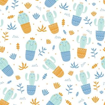 Modello senza cuciture disegnato a mano di cactus e foglie con stile infantile