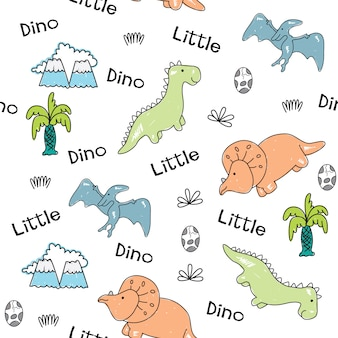 Modello senza cuciture disegnato a mano di piccoli dinosauri