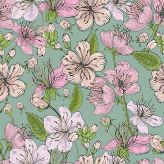 Modello senza cuciture disegnato a mano realistico di sakura con germogli, fiori, foglie. illustrazione colorata stile vintage.