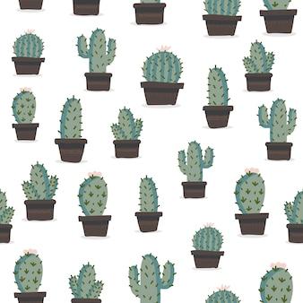 Modello senza cuciture disegnato a mano sveglio con cactus.