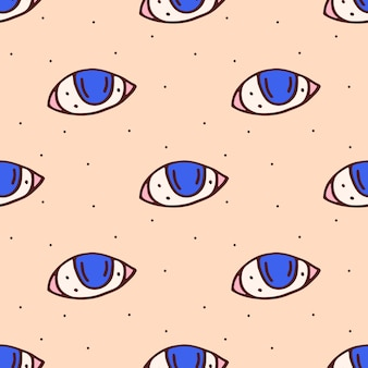 Modello senza cuciture disegnato a mano sveglio degli occhi azzurri