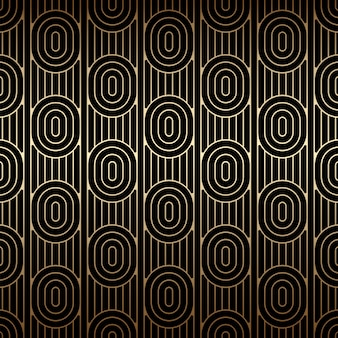 Modello senza cuciture dorato con ovali e linee, colori nero e oro, stile art deco