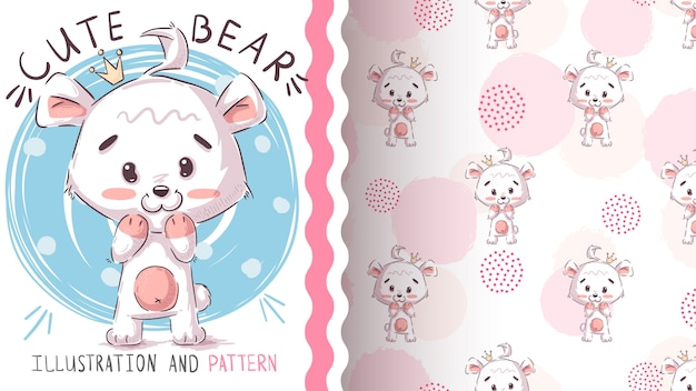 Modello senza cuciture ed illustrazione dell'orso bianco polare
