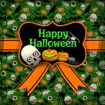 Modello senza cuciture felice di halloween con i simboli del nastro arancione di festa e in bianco con il telaio dell'annata piatto