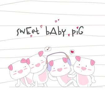Modello senza cuciture felice famiglia di maiale carino bambino