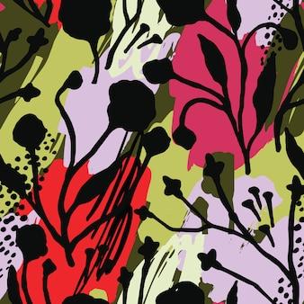 Modello senza cuciture floreale astratto con strutture disegnate a mano alla moda.
